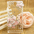Bling Flower Crystals Transparent Hard Cases Covers for Sony Ericsson ST25i Xperia U - Pink