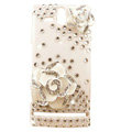 Bling Flowers Crystals Hard Cases Covers for Sony Ericsson ST25i Xperia U - White