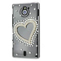 Bling Heart Crystals Hard Cases Covers for Sony Ericsson MT27i Xperia sola - Gold