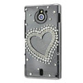 Bling Heart Crystals Hard Cases Covers for Sony Ericsson MT27i Xperia sola - White