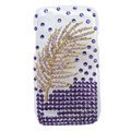 Bling Leaves Crystals Hard Cases Diamond Covers for HTC T328W Desire V - Purple