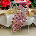 Bling Peacock Crystals Hard Cases Diamond Covers for HTC T328W Desire V - Pink