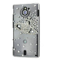 Bling Saturn Crystals Hard Cases Covers for Sony Ericsson MT27i Xperia sola - White