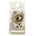 Bling Swan Crystals Hard Cases Covers for Sony Ericsson ST25i Xperia U - Brown