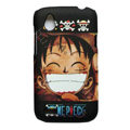 Cartoon D. Luffy Matte Hard Cases Skin Covers for HTC T328W Desire V - Black