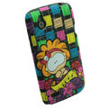 Cartoon Wangba Matte Hard Cases Skin Covers for HTC T328W Desire V - Black