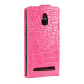 Crocodile pattern Leather Cases Holster Cover For Sony Ericsson LT22i Xperia P - Rose