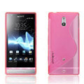 Jokod TaiJi TPU Soft Cases Skin Covers For Sony Ericsson LT22i Xperia P - Transparent Pink (Screen protection film)