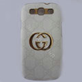 GUCCI cover leather cases Holster Skin for Samsung Galaxy SIII S3 I9300 I9308 I939 I535 - White