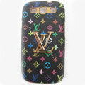 LV Louis Vuitton cover leather cases Holster Skin for Samsung Galaxy SIII S3 I9300 I9308 I939 I535 - Black