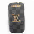 LV Louis Vuitton cover leather cases Holster Skin for Samsung Galaxy SIII S3 I9300 I9308 I939 I535 - Blue