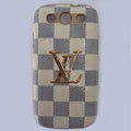 LV Louis Vuitton cover leather cases Holster Skin for Samsung Galaxy SIII S3 I9300 I9308 I939 I535 - White