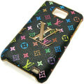 LV Louis Vuitton cover leather cases Holster Skin for Samsung i9100 i9108 i9188 Galasy S2 SII - Black