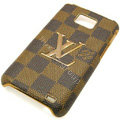 LV Louis Vuitton cover leather cases Holster Skin for Samsung i9100 i9108 i9188 Galasy S2 SII - Brown