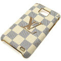 LV Louis Vuitton cover leather cases Holster Skin for Samsung i9100 i9108 i9188 Galasy S2 SII - White