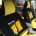 FORTUNE Bad Boy Autos Car Seat Covers for 2008 Toyota Yaris 4-Door Sedan - Black