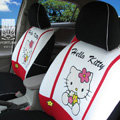 FORTUNE Hello Kitty Autos Car Seat Covers for 2010 Toyota Highlander 7 Seats - White