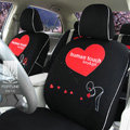 FORTUNE Human Touch Heart Bike Autos Car Seat Covers for 2007 Toyota Yaris 4-Door Sedan - Black