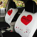 FORTUNE Human Touch Heart Bike Autos Car Seat Covers for 2007 Toyota Yaris 4-Door Sedan - White