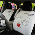 FORTUNE Human Touch Heart Window Autos Car Seat Covers for 2007 Toyota Yaris 4-Door Sedan - White