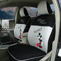 FORTUNE Mickey Mouse Autos Car Seat Covers for 2007 Toyota Highlander 7 Seats - Gray