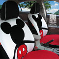 FORTUNE Mickey Mouse Autos Car Seat Covers for 2009 Toyota Yaris 4-Door Sedan - White