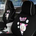FORTUNE Pleasant Happy Goat Autos Car Seat Covers for 2008 Toyota Yaris 4-Door Sedan - Black