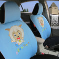 FORTUNE Pleasant Happy Goat Autos Car Seat Covers for 2009 Toyota Highlander 7 Seats - Blue