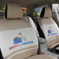 FORTUNE Snoopy Friend Autos Car Seat Covers for 2007 Toyota Yaris 4-Door Sedan - Coffee