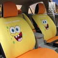 FORTUNE Spongebob Autos Car Seat Covers for 2008 Toyota Yaris 4-Door Sedan - Yellow