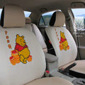 FORTUNE Winnie The Pooh Autos Car Seat Covers for 2007 Toyota Yaris 4-Door Sedan - Apricot