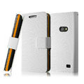 IMAK Slim leather Cases Luxury Holster Covers for Samsung i8530 Galaxy Beam - White