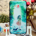 Luxury Painting Girl Hard Cases Skin Covers for HTC X720d One XC - Green