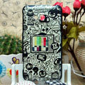 Luxury Painting Television Hard Cases Skin Covers for HTC X720d One XC - White