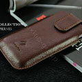 PIERVES Leather Cases Holster Covers for Samsung i8530 Galaxy Beam - Brown