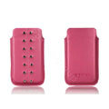 PIERVES Leather Cases Rivets Holster Covers for Samsung i8530 Galaxy Beam - Rose