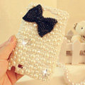 Bling Bowknot Crystal Cases Pearls Covers for Samsung Galaxy Note i9220 N7000 i717 - Black