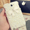 Bling Bowknot Crystal Cases Pearls Covers for Samsung Galaxy Note i9220 N7000 i717 - White