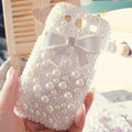 Bling Bowknot Crystal Cases Pearls Covers for Samsung Galaxy SIII S3 I9300 I9308 I939 I535 - White