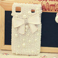 Bling Bowknot Crystal Cases Pearls Covers for Samsung i9000 Galaxy S i9001 - White