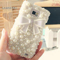Bling Bowknot Crystal Cases Pearls Covers for Samsung i9100 i9108 i9188 Galasy S2 SII - White