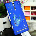 Bling Butterfly Crystals Cases Hard Covers for Sony Ericsson LT26i Xperia S - Blue
