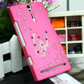 Bling Butterfly Crystals Cases Hard Covers for Sony Ericsson LT26i Xperia S - Pink