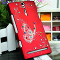 Bling Butterfly Crystals Cases Hard Covers for Sony Ericsson LT26i Xperia S - Red