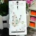 Bling Butterfly Crystals Cases Hard Covers for Sony Ericsson LT26i Xperia S - White