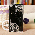 Bling Flower Crystals Cases Hard Covers for Sony Ericsson LT26i Xperia S - Black