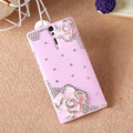 Bling Flower Crystals Cases Hard Covers for Sony Ericsson LT26i Xperia S - Pink