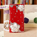 Bling Flower Crystals Cases Hard Covers for Sony Ericsson LT26i Xperia S - Red