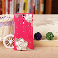 Bling Flower Crystals Cases Hard Covers for Sony Ericsson LT26i Xperia S - Rose