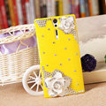 Bling Flower Crystals Cases Hard Covers for Sony Ericsson LT26i Xperia S - Yellow